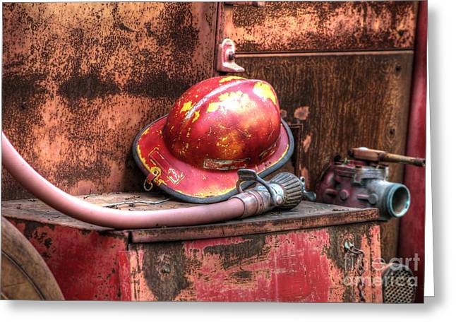 Hard Hat Greeting Cards - Firemans Helmet and Hose Greeting Card by Jimmy Ostgard