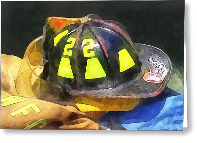 Helmets Greeting Cards - Firemans Helmet on Uniform Greeting Card by Susan Savad