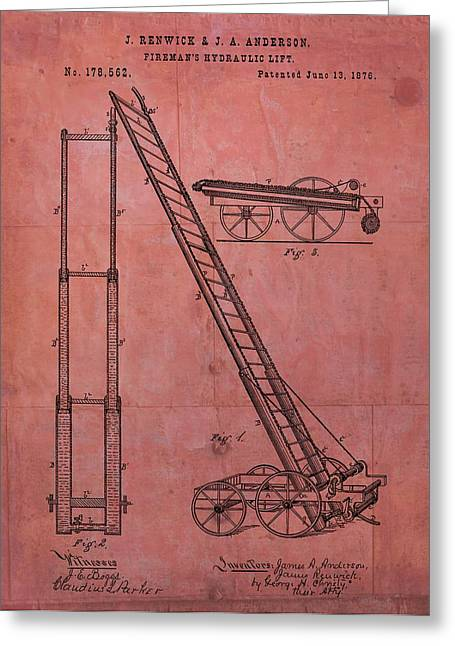 Rescuer Mixed Media Greeting Cards - Firemans Hydraulic Lift Patent Greeting Card by Dan Sproul