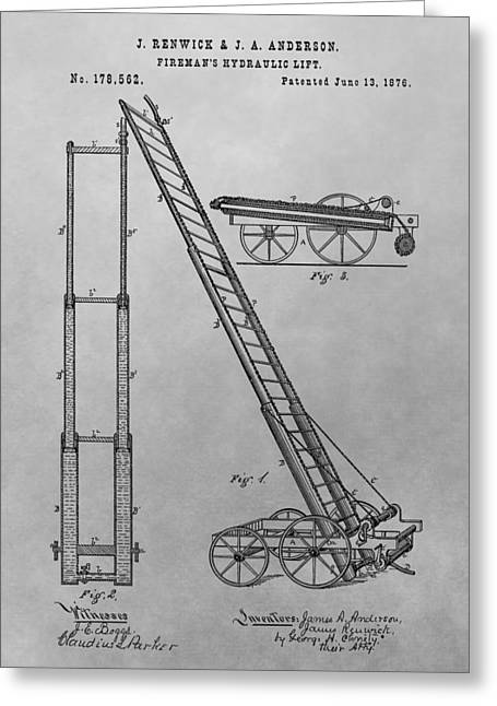 Old Trucks Drawings Greeting Cards - Firemans Hydraulic Lift Patent Drawing Greeting Card by Dan Sproul