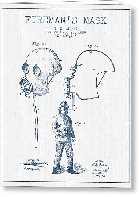 Firemen Art Greeting Cards - Firemans Mask Patent from 1889 - Blue Ink Greeting Card by Aged Pixel