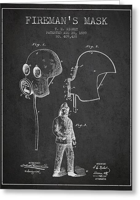 Firemans Mask Patent From 1889 - Dark Greeting Card by Aged Pixel