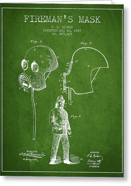 Firemen Art Greeting Cards - Firemans Mask Patent from 1889 - Green Greeting Card by Aged Pixel