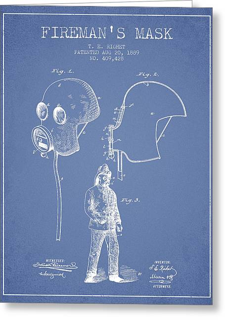 Firemans Mask Patent From 1889 - Light Blue Greeting Card by Aged Pixel
