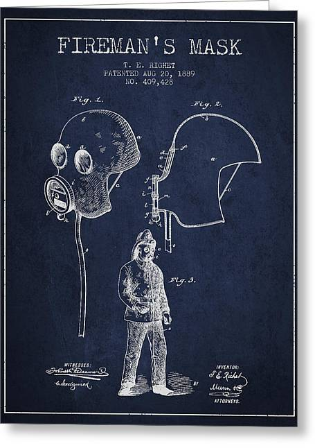 Firemans Mask Patent From 1889 - Navy Blue Greeting Card by Aged Pixel
