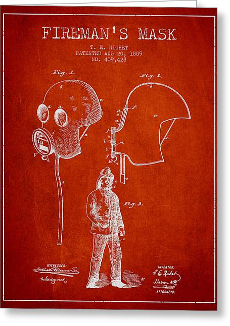 Firemen Art Greeting Cards - Firemans Mask Patent from 1889 - Red Greeting Card by Aged Pixel