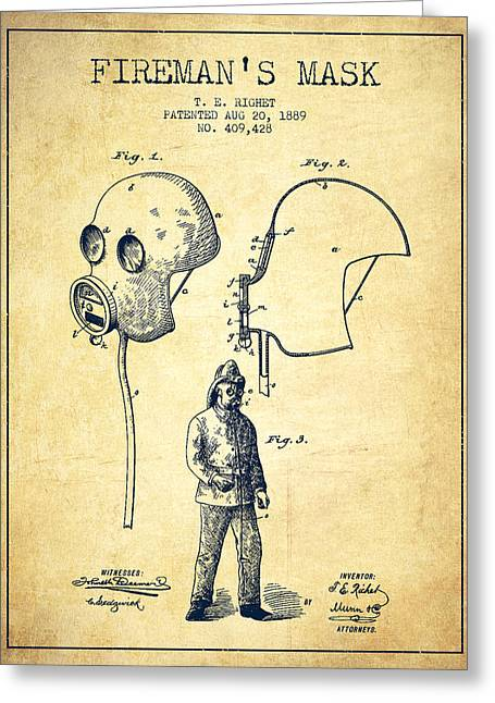 Firemen Art Greeting Cards - Firemans Mask Patent from 1889 - Vintage Greeting Card by Aged Pixel