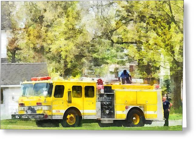 Fire Fighter Greeting Cards - Firemen - Back at the Firehouse Greeting Card by Susan Savad