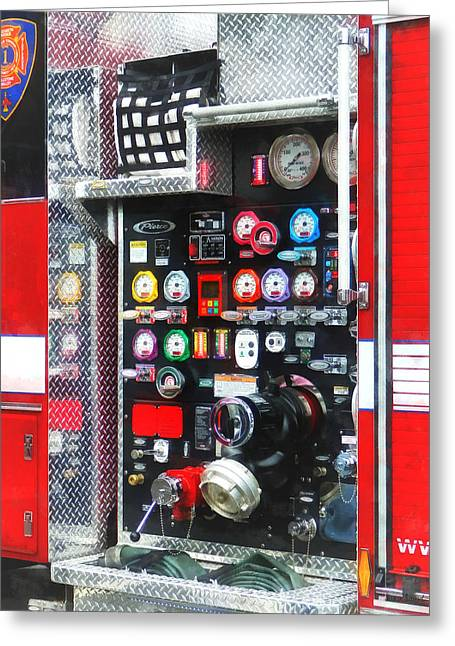 Hose Greeting Cards - Firemen - Colorful Gauges on Fire Truck Greeting Card by Susan Savad