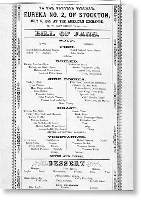 Stockton Greeting Cards - Firemen Dinner Menu - San Francisco - 1856 Greeting Card by Daniel Hagerman