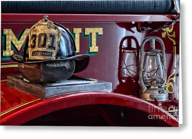 Emergency Vehicle Greeting Cards - Firemen - Fire Helmet Lieutenant Greeting Card by Paul Ward