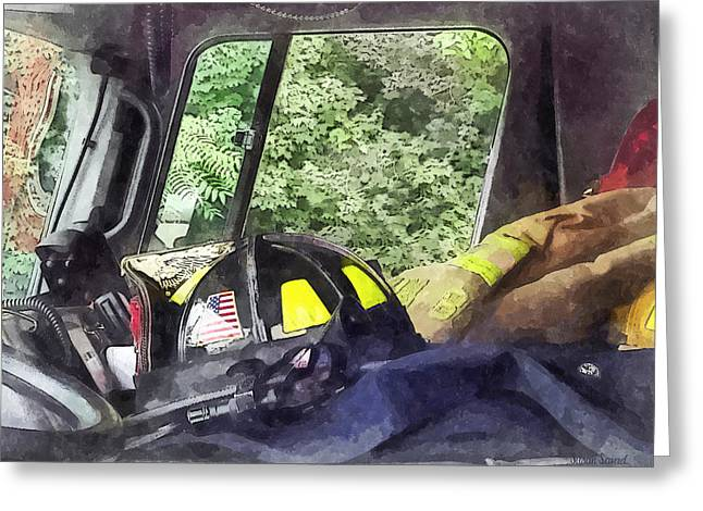 Firemen - Helmet Inside Cab Of Fire Truck Greeting Card by Susan Savad