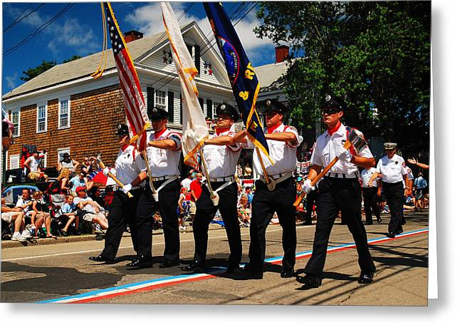 4th Of July Parade Greeting Cards - Firemen Salute Greeting Card by James Kirkikis