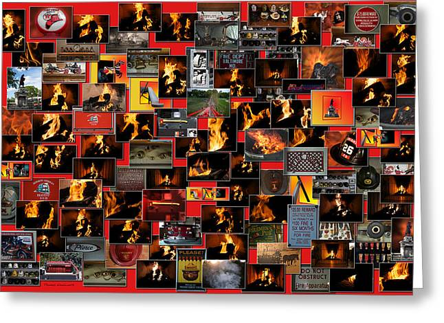 Coller Greeting Cards - Firemen Series Collage Greeting Card by Thomas Woolworth