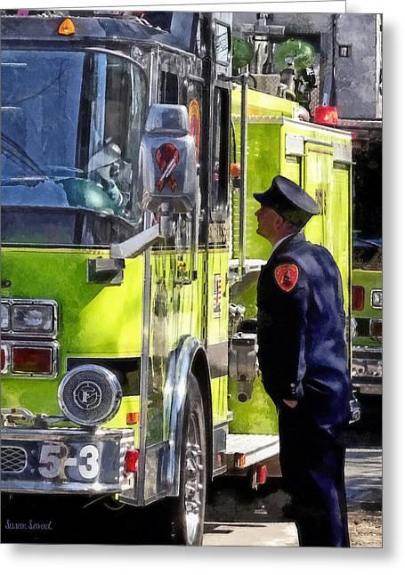 Fire Engine Greeting Cards - Firemen Talking Greeting Card by Susan Savad