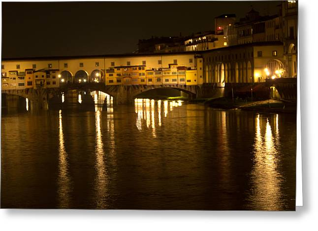 Firenza Florence Italy Ponte Vecchio At Night Greeting Card by David Coblitz