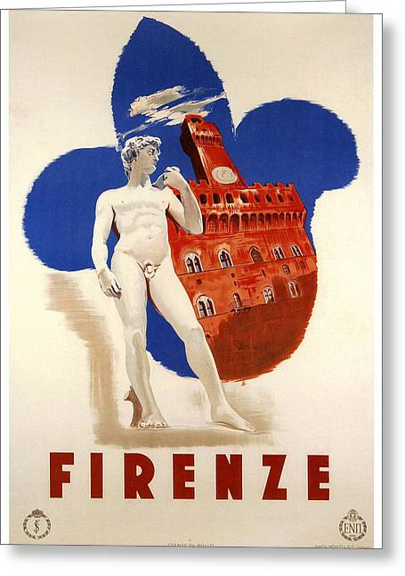 Uffizi Greeting Cards - Firenze 1935 Greeting Card by Nomad Art And  Design
