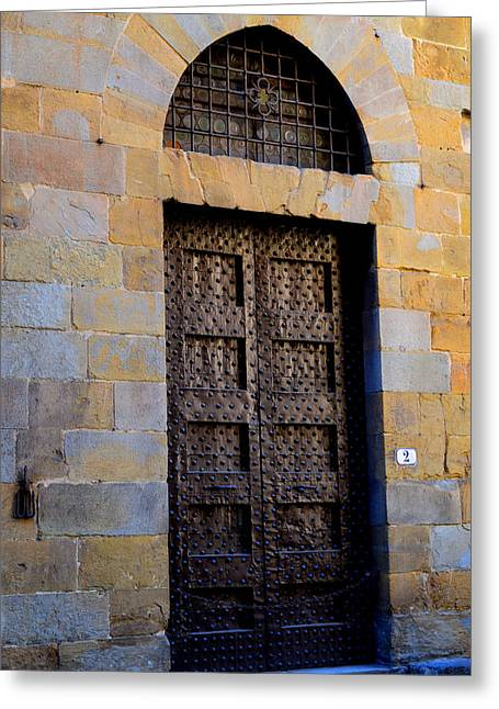 Office Buiding Greeting Cards - Firenze ancient door Greeting Card by Mircea Florian Hamza