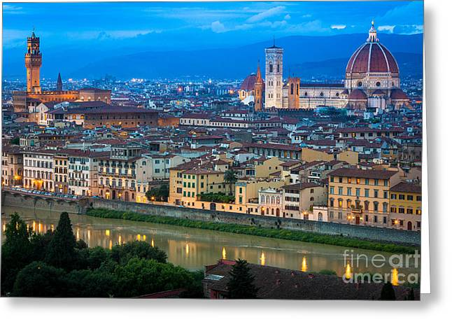 Arno Greeting Cards - Firenze by Night Greeting Card by Inge Johnsson