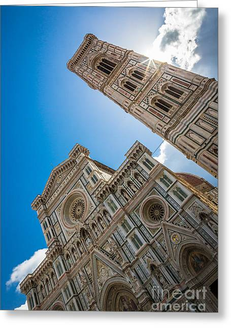 Florence Greeting Cards - Firenze Duomo Sunburst Greeting Card by Inge Johnsson