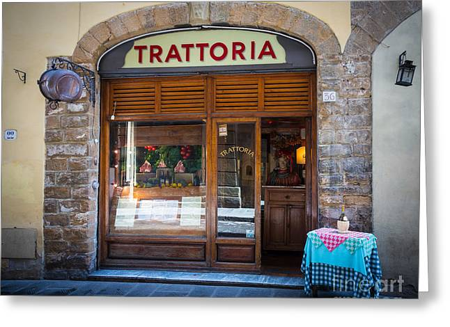 Florence Greeting Cards - Firenze Trattoria Greeting Card by Inge Johnsson