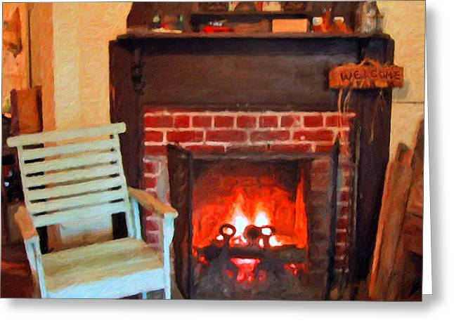 Old Home Place Greeting Cards - The Family Hearth - Fireplace Old Rocking Chair Greeting Card by Rebecca Korpita