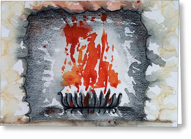 Grate Paintings Greeting Cards - Fireplace Greeting Card by Barbara Chase