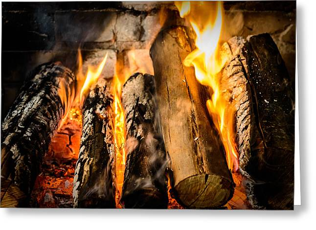Igniting Greeting Cards - Fireplace II Greeting Card by Marco Oliveira