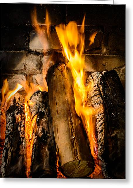 Fireplace Greeting Card by Marco Oliveira