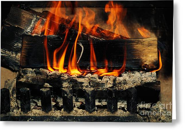 Grate Greeting Cards - Fireplace Greeting Card by Ron Sanford
