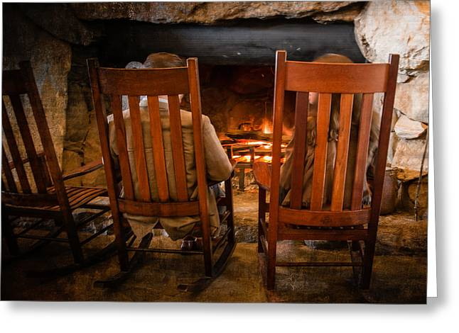 Grove Park Inn Greeting Cards - Fireside Chat Greeting Card by Carl Clay