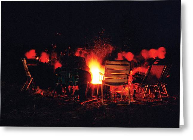 Lawn Chair Greeting Cards - Fireside chitchat Greeting Card by Leonid Rozenberg