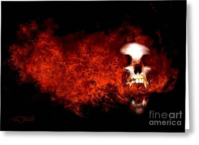 Paranormal Digital Greeting Cards - Fireskull 2 Greeting Card by Tom Straub