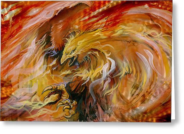 Spirit Bird Greeting Cards - Firestorm Hawk Greeting Card by Luis  Navarro