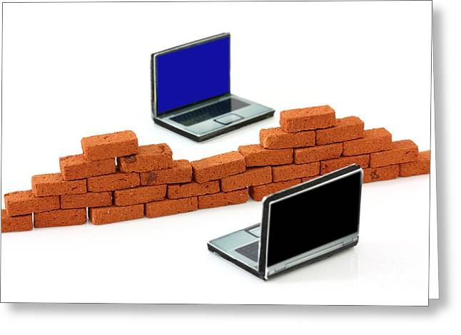 Firewall Greeting Cards - Firewall protection for laptops Greeting Card by Simon Bratt Photography LRPS