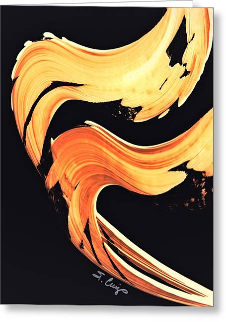 Orange Print Greeting Cards - FireWater 5 - Abstract Art By Sharon Cummings Greeting Card by Sharon Cummings
