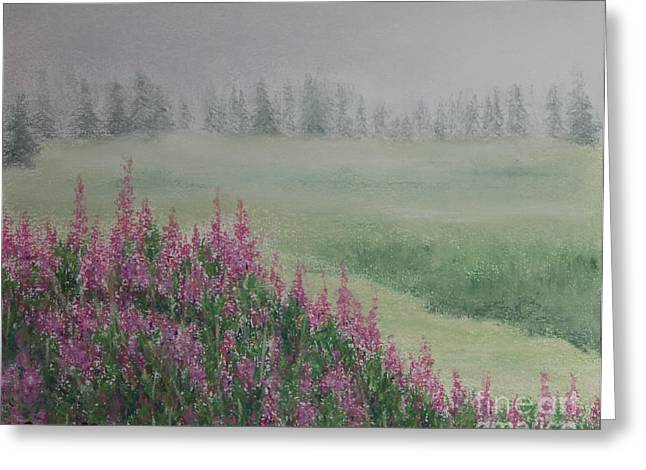 Canada Pastels Greeting Cards - Fireweeds Still In The Mist Greeting Card by Stanza Widen