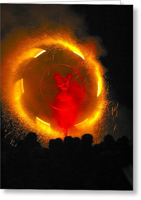 Catherine Wheel Greeting Cards - Firewheel Greeting Card by Alan Oliver