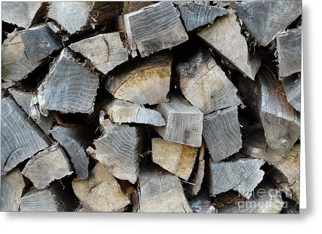 Firepit Greeting Cards - Firewood Greeting Card by Joseph Baril