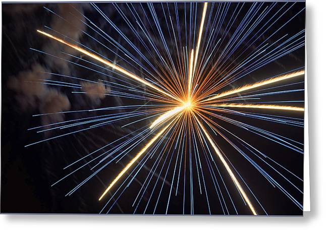 Blue Fireworks Greeting Cards - Firework 6 Greeting Card by Jeffrey Platt