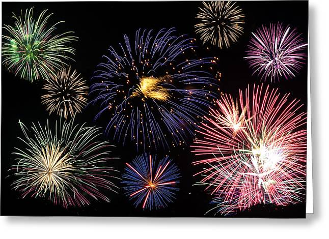 4th July Digital Art Greeting Cards - Firework Celebration  Greeting Card by Sammuel Hernandez