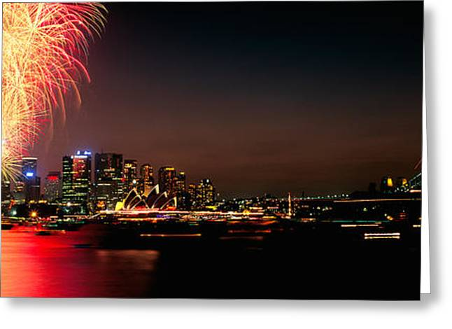 New Year Greeting Cards - Firework Display At New Years Eve Greeting Card by Panoramic Images