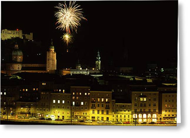 Salzburg Greeting Cards - Firework Display Over A Fort Greeting Card by Panoramic Images