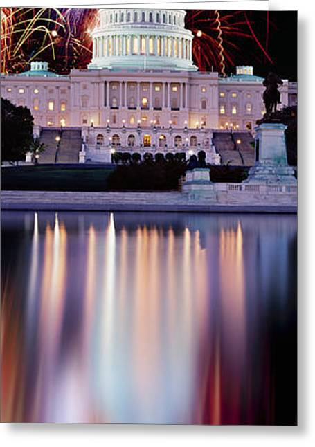 Legislation Greeting Cards - Firework Display Over A Government Greeting Card by Panoramic Images