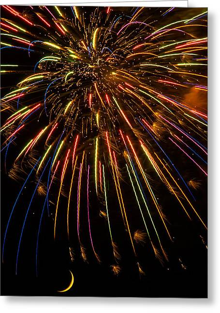 Firework Greeting Cards - Firework Indian Headdress Greeting Card by Darryl Dalton