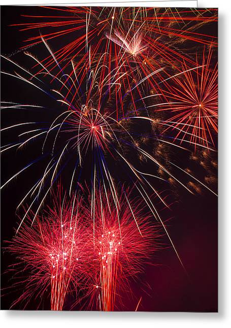 Pyrotechnics Greeting Cards - Firework Majesty  Greeting Card by Garry Gay