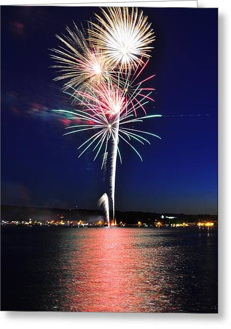 Canandaigua Lake Greeting Cards - Firework Reflections Greeting Card by Melanie Bellis