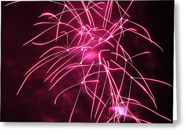 Pyrotechnics Greeting Cards - Rockets Red Glare Fireworks Greeting Card by Howard Tenke