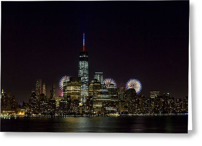 Brooklyn Promenade Greeting Cards - Fireworks 4th of July Greeting Card by D Plinth