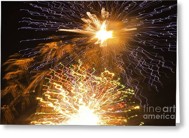 Crush Creations Greeting Cards - Fireworks Abstract 01 Greeting Card by Crush Creations